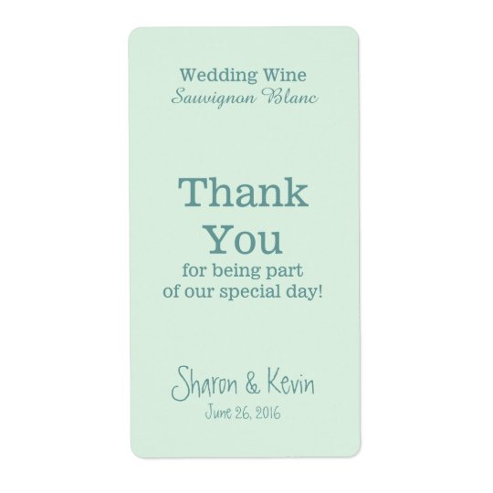Blue Tones Wedding Wine Thank You Shipping Label