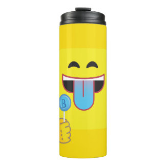 Blue Tongue Emoticon Thermal Tumbler