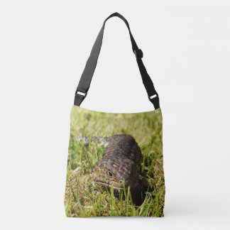 Blue Tongue Lizard Creeping In The Grass, Crossbody Bag