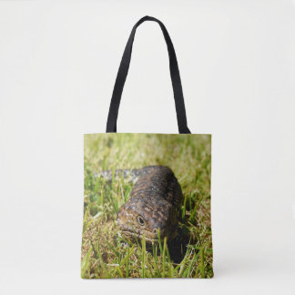 Blue Tongue Lizard Creeping In The Grass, Tote Bag
