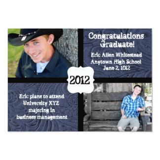 Blue Tooled Leather Photo Graduation Announcement