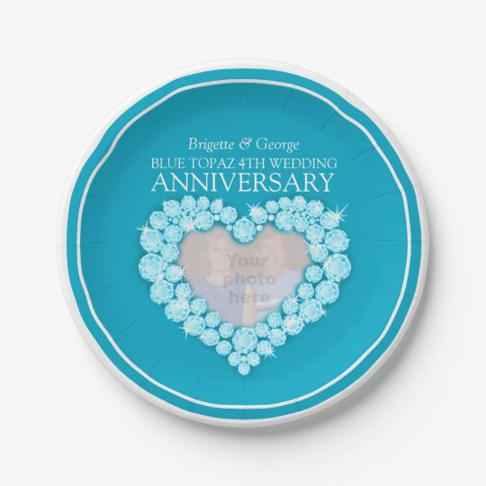 Blue topaz 4th Anniversary photo heart paper plate 7 Inch Paper Plate