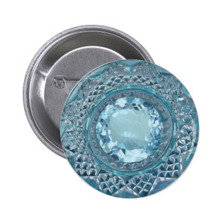 Blue Topaz and Cut Glass 2 Inch Round Button