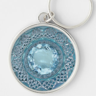 Blue Topaz and Cut Glass Silver-Colored Round Keychain