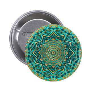 Blue topaz mandala 2 inch round button