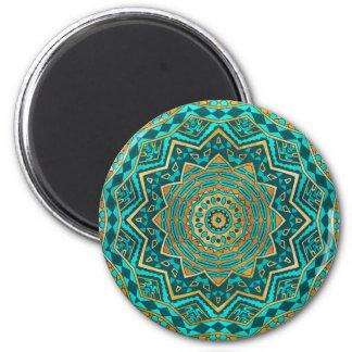 Blue topaz mandala 2 inch round magnet