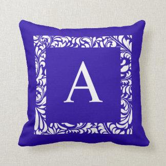 Blue Toss Pillow  Monogram A