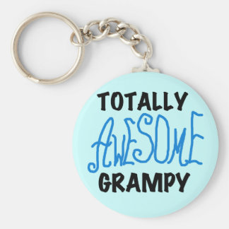 Blue Totally Awesome Grampy Tshirts and Gifts Basic Round Button Keychain