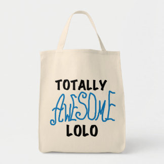 Blue Totally Awesome Lolo T-shirts and Gifts Grocery Tote Bag