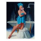 Blue Towel, 1995 Pin Up Art Postcard