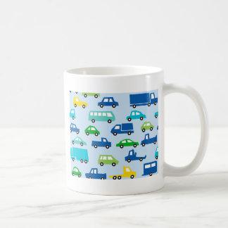 blue toy car pattern - automobile illustration coffee mug