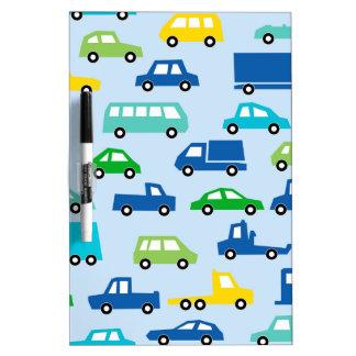 blue toy car pattern - automobile illustration dry erase board