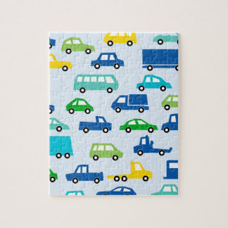 blue toy car pattern - automobile illustration jigsaw puzzle
