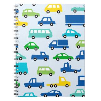 blue toy car pattern - automobile illustration notebooks