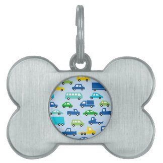 blue toy car pattern - automobile illustration pet tag