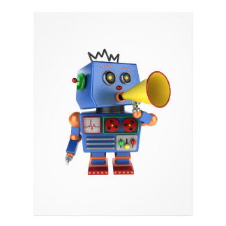 Blue toy robot with bullhorn personalized flyer
