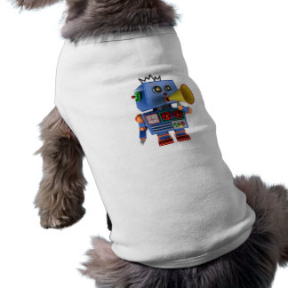 Blue toy robot with bullhorn pet clothes