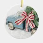 Blue Toy Truck Carrying A Christmas Tree Ceramic Ornament