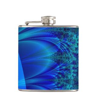Blue Trace Fractal Hip Flask