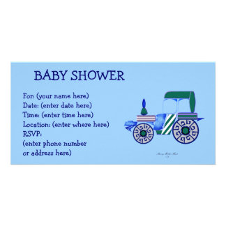 Blue Tractor Baby Shower Custom Photo Card