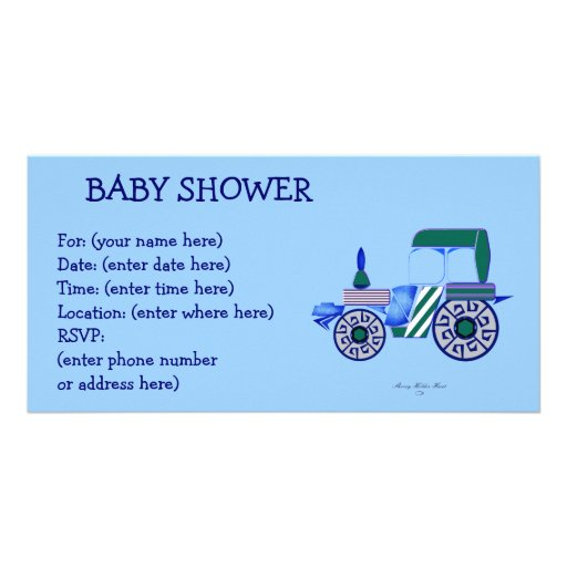 Blue Tractor Baby Shower Personalized Photo Card
