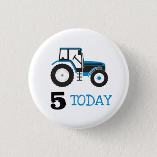 Blue Tractor Birthday Age Badge Button