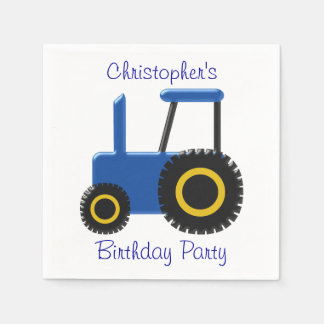 Blue Tractor Birthday Paper Napkins