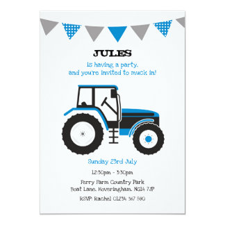 Blue Tractor Birthday Party Invite