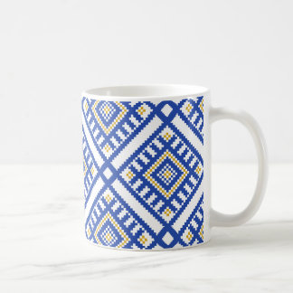 Blue Traditional Geometry Pattern Coffee Mug