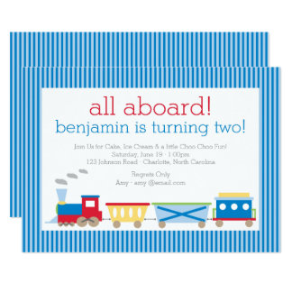 Blue Train Birthday Invitation