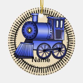 Blue Train Ceramic Ornament