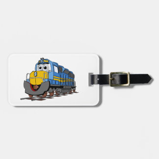 Blue Train Engine Cartoon Luggage Tag