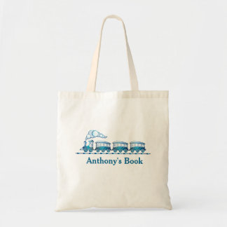 Blue train kids named library tote bag