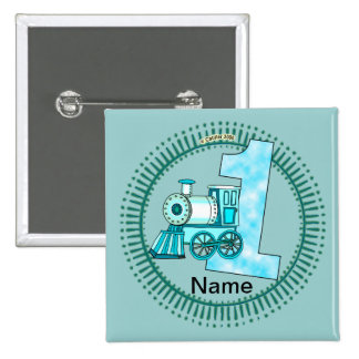 Blue Train Number 1 2 Inch Square Button