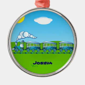 Blue Train template Metal Ornament
