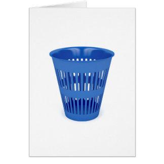 Blue trash can card