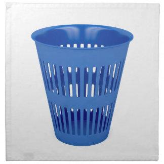 Blue trash can napkin