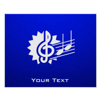 Blue Treble Clef; Music Notes Poster