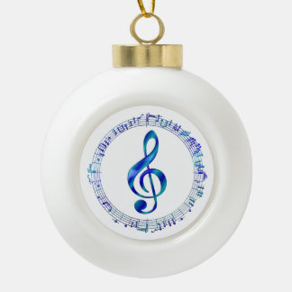 Blue Treble Clef With Music Notes Ceramic Ball Christmas Ornament