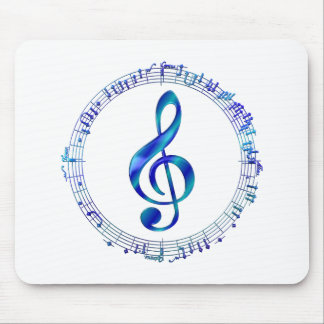 Blue Treble Clef With Music Notes Mouse Pad