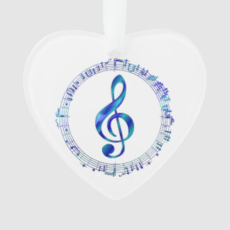 Blue Treble Clef With Music Notes Ornament