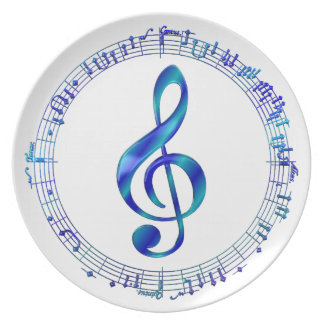 Blue Treble Clef With Music Notes Plate