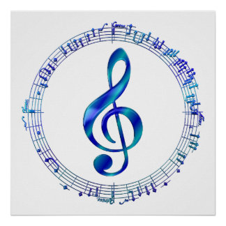Blue Treble Clef With Music Notes Poster