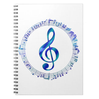 Blue Treble Clef With Music Notes Spiral Notebook
