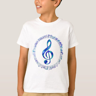 Blue Treble Clef With Music Notes T-Shirt