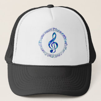Blue Treble Clef With Music Notes Trucker Hat