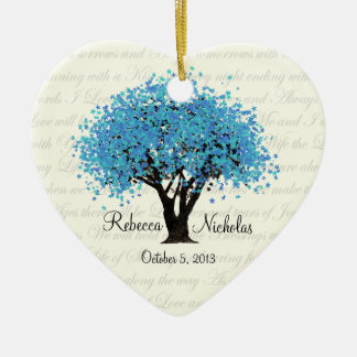 Blue Tree Dancing Blooms Wedding Photo Ceramic Ornament