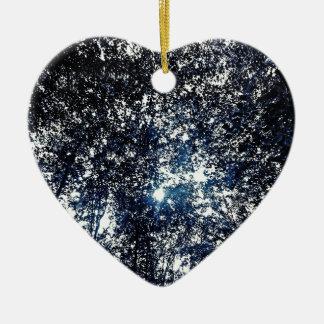 Blue Tree Line Ceramic Heart Ornament
