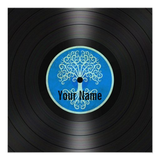 Blue Tree of Life Personalized Vinyl Record Personalized Invite
