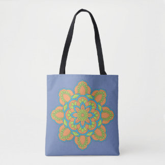 Blue Trendy  Mandala Floral Tote Bag